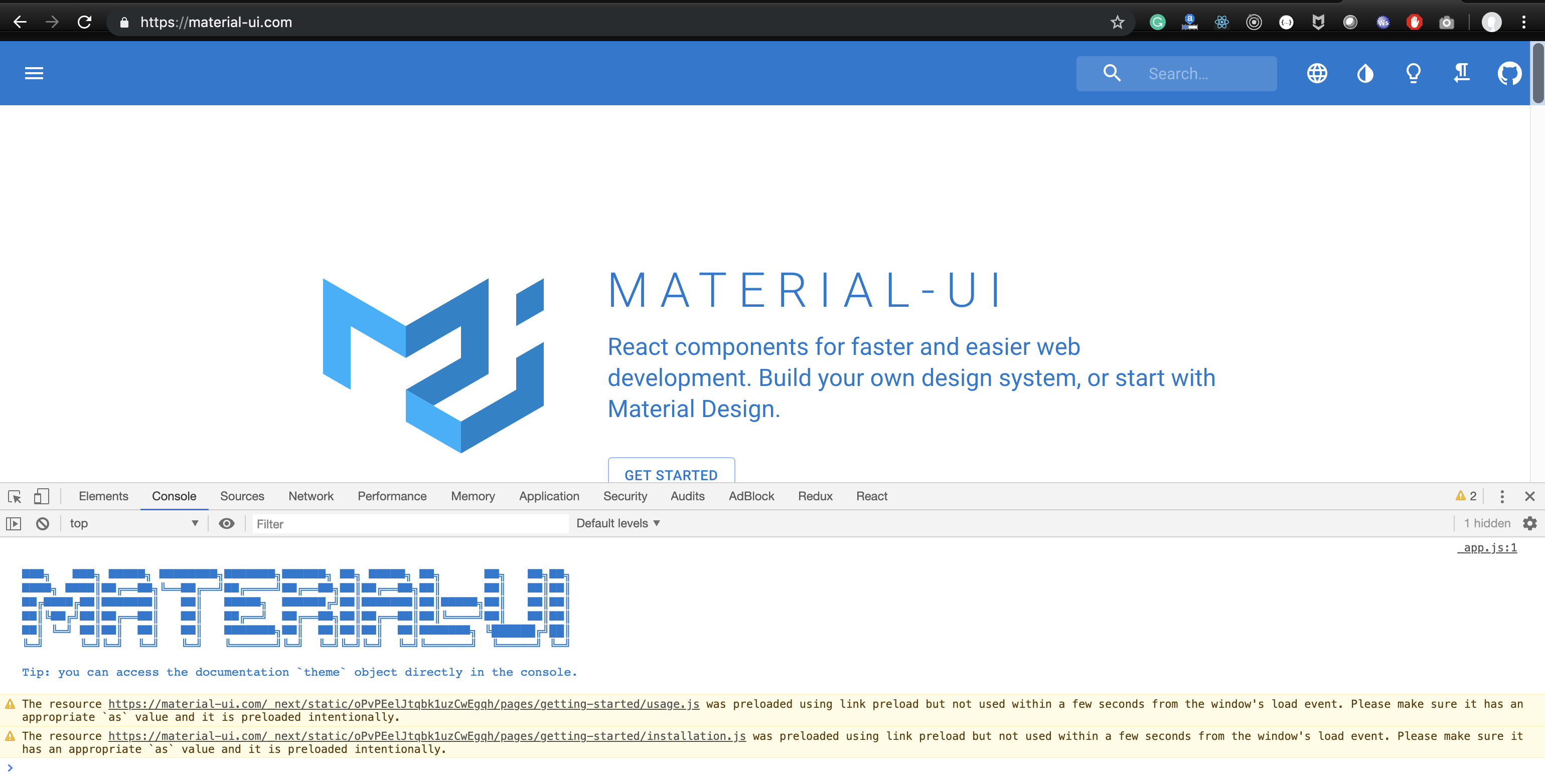 Material UI browser console